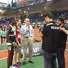 Larry Rawson interviewing 800m winner Roisin Willis and 2nd place Athing Mu