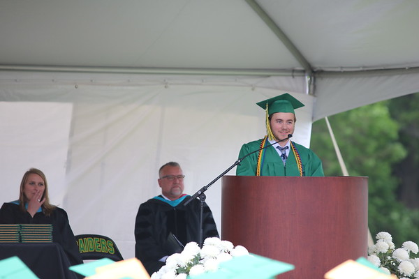 AIMEE AMBROSE | THE GOSHEN NEWS <br /> Class President Logan Clemens gives opening remarks to the class of 2019 during Northridge High School's graduation ceremony in Middlebury Sunday.
