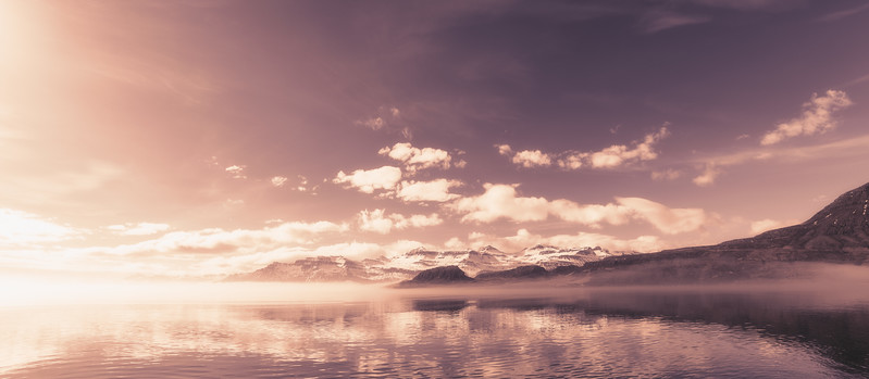 Ethereal Panoramic of Beautiful Morning in Eskifjordur, East Fjords Iceland
