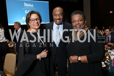 Debbi Jarvis, Reginald Van Lee, Cora Masters Barry. Photo by Tony Powell. 2019 N Street Village Gala. Marriott Marquis. March 14, 2019