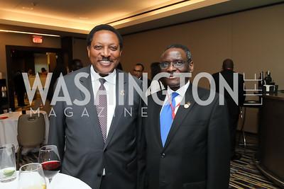 Tanzania Amb. Wilson Masilingi, Malawi Amb. Edward Sawerengera. Photo  by Tony Powell. 2019 Africa Day Celebration. Marriott Marquis. May 23, 2019