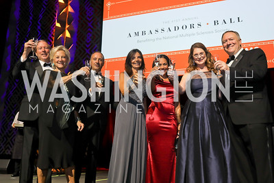 Sen. Tom Udall and Jill Udall, Italy Amb. Armando Varricchio and Micaela Varricchio, Chartese Berry, Susan Pompeo and Sec. Mike Pompeo. Photo by Tony Powell. 2019 Ambassadors Ball. The Anthem. September 10, 2019