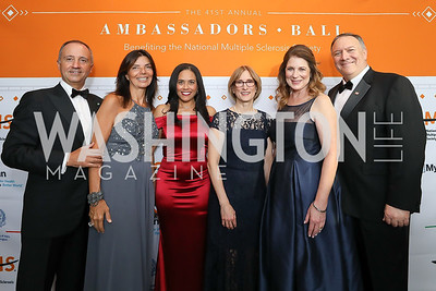 Italy Amb. Armando Varricchio and Micaela Varricchio, Chartese Berry, Cyndi Zagieboylo, Susan Pompeo and Sec. Mike Pompeo. Photo by Tony Powell. 2019 Ambassadors Ball. The Anthem. September 10, 2019