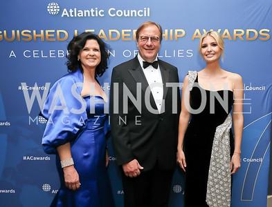 Adrienne Arsht Center for Resilience Director Kathy Baughman McLeod, Fred Kempe, Ivanka Trump. Photo by Tony Powell. 2019 Atlantic Council Awards. Ritz Carlton. April 30, 2019