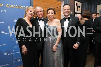 Lourdes and Carlos Gimenez, Adrienne Arsht, Jorge Plasencia. Photo by Tony Powell. 2019 Atlantic Council Awards. Ritz Carlton. April 30, 2019