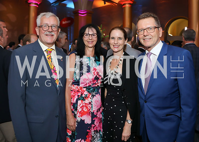 Switzerland Amb. Martin Dahinden and Anita Dahinden, Gudrun Waldner and Austria Amb. Wolfgang Waldner. Photo by Tony Powell. 2019 National Building Museum Gala. May 29, 2019