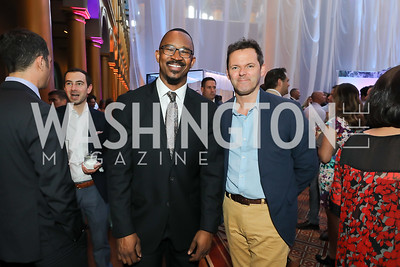 Host of NPR's 1A Joshua Johnson, Exec. Prod. of NPR's 1A Rupert Allman. Photo by Tony Powell. 2019 National Building Museum Gala. May 29, 2019