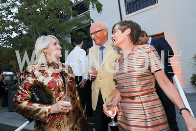 Jan Smith, Belgium Amb. Dirk Wouters and Katrin Wouters. Photo by Tony Powell. 2019 Cafritz Welcome Back from Summer. September 8, 2019