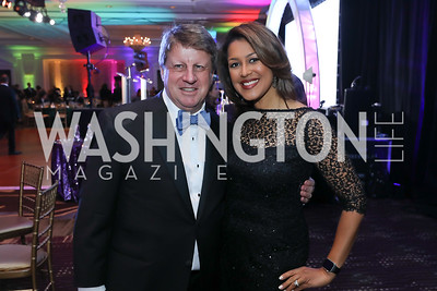 """Dave Lougee, Lesli Foster. Photo by Tony Powell. 2019 Capital Caring """"Passion for Caring"""" Gala. Ritz Carlton Tysons Corner. November 16, 2019"""