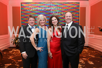 """Gala Chairs Dave and Danni Lougee and Sharon and Donn Davis. Photo by Tony Powell. 2019 Capital Caring """"Passion for Caring"""" Gala. Ritz Carlton Tysons Corner. November 16, 2019"""
