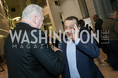 Hungary Amb. Laszlo Szabo, Omar Ghorbal. Photo by Tony Powell. 2019 Flicks 4 Change. Reagan Building. November 10, 2019