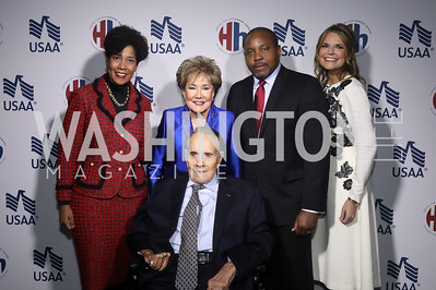 Harriet Dominique, Senators Elizabeth and Bob Dole, Robert Dominique, Savannah Guthrie. Photo by Tony Powell. 2019 Heroes & History Makers. The Anthem. October 23, 2019