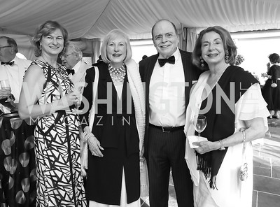 "Leva O'Rourke, Lola Reinsch, Bill Detty, Joanna Edwards. Photo by Tony Powell. 2019 Hillwood ""Black & White"" Gala. June 4, 2019"