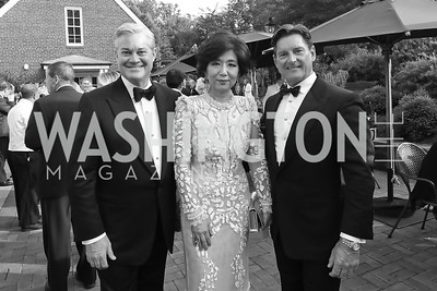 "Mark Lowham, Michele Kang, Joe Ruzzo. Photo by Tony Powell. 2019 Hillwood ""Black & White"" Gala. June 4, 2019"