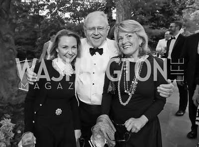 "Megan Beyer, John Stinson, Lucy Rhame. Photo by Tony Powell. 2019 Hillwood ""Black & White"" Gala. June 4, 2019"