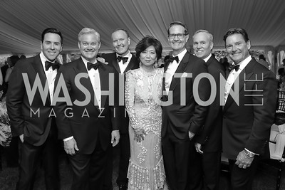 "Will Thomas, Mark Lowham, Barry Dixon, Michele Kang, Chad Hoeft, Matt McCormick, Joe Ruzzo. Photo by Tony Powell. 2019 Hillwood ""Black & White"" Gala. June 4, 2019"