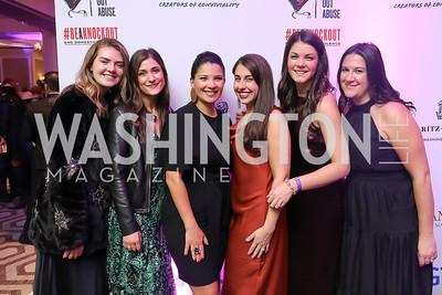 Wilson Keller, Stephanie Economides, Amal Zaari, Jeannette Tavares, Kaitlyn Hostetler, Kate Brannack. Photo by Tony Powell. 2019 Knock Out Abuse. November 7, 2019