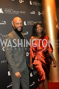 Rapper Common and daughter Omoye Assata Lynn. Photo by Tony Powell. 2019 Mark Twain Prize. Kennedy Center. October 27, 2019