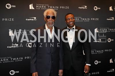 Morgan Freeman, Chris Tucker. Photo by Tony Powell. 2019 Mark Twain Prize. Kennedy Center. October 27, 2019