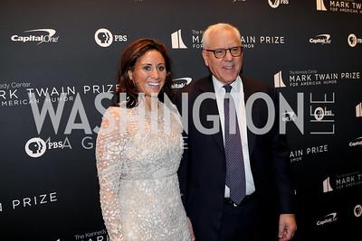 Alexa Rachlin and David Rubenstein. Photo by Tony Powell. 2019 Mark Twain Prize. Kennedy Center. October 27, 2019