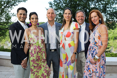 Sanjeev and Bela Aggarwal, Mark and Sarah Kimsey, Alex and Jacquie Henry. Photo by Tony Powell. 2019 McLean Project for the Arts Spring Benefit. The Falls. May 16, 2019