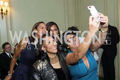 Hilary West, Sela Collins, Gail West, Aruba Minister Plenipotentiary Joselin Croes. Photo by Tony Powell. 2019 Meridian Ball. October 25, 2019
