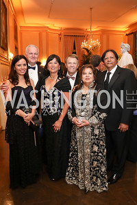 Ivonn Szeverenyi and Hungary Amb. Laszlo Szabo, Tina and Gary Mather, Shaista and Ray Mahmood. Photo by Tony Powell. 2019 Meridian Ball. October 25, 2019