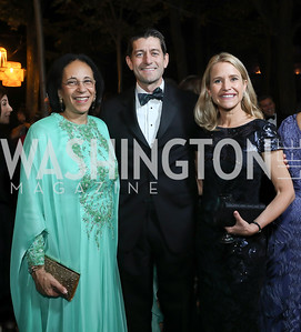Oman Amb. Hunaina Al-Mughairy, Former Speaker Paul Ryan and Jan Ryan. Photo by Tony Powell. 2019 Meridian Ball. October 25, 2019