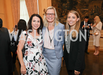 Sandra Pandit Cook, Embassy of Denmark's Lone Kanaskie and Cecilia Skogstad. Photo by Tony Powell. 2019 Meridian Social Secretaries & Cultural Attachés Celebration. August 2, 2019