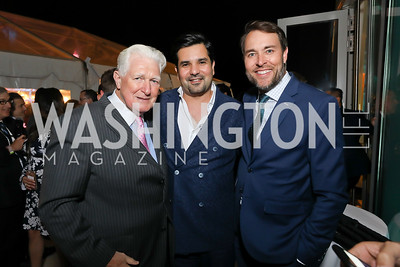 Rep. Jim Moran, Qatar Amb. Meshal Al Thani, Scott Thuman. Photo by Tony Powell. 2019 WHCD Qatar and Washington Diplomat Pre-Party. Institute of Peace. April 26, 2019