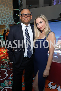 Bash Kazi and Crystal Martin. Photo by Tony Powell. 2019 WHCD Qatar and Washington Diplomat Pre-Party. Institute of Peace. April 26, 2019