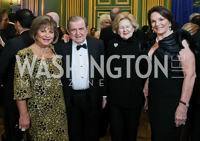 Annie Totah, Morton Bender, Beth Newburger Schwartz, Grace Bender. Photo by Tony Powell. Sibley Memorial Hospital 18th Hope & Progress Gala. Mellon Auditorium. March 9, 2019