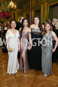 Dinah Tibayan, Angelina Garcia, Megan Dickey, Karen Micu. Photo by Tony Powell. Sibley Memorial Hospital 18th Hope & Progress Gala. Mellon Auditorium. March 9, 2019
