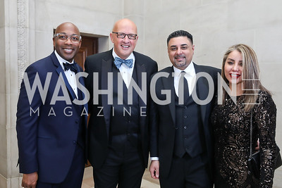 Anthony Evans and Kevin Sowers, Hasan and Vivian Zia. Photo by Tony Powell. Sibley Memorial Hospital 18th Hope & Progress Gala. Mellon Auditorium. March 9, 2019