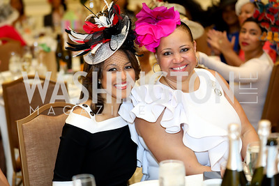 "Lesli Foster, Nicole Venable. Photo by Tony Powell. The Links 2019 ""High Tea in the City."" Omni Shoreham. March 30, 2019"