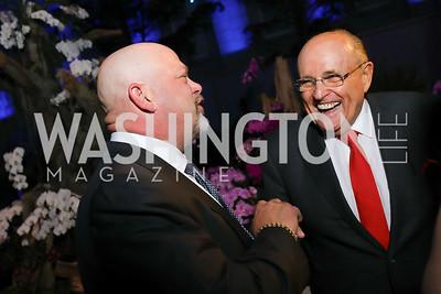 Pawn Stars' Rick Harrison, Mayor Rudy Giuliani. Photo by Tony Powell. 2019 WHCD The Hill's A Toast to Freedom of the Press. NPG. April 26, 2019