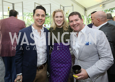 Chris Cillizza, Olivia Nuzzi, Jay Shaylor. Photo by Tony Powell. 2019 WHCD Garden Brunch. April 27, 2019