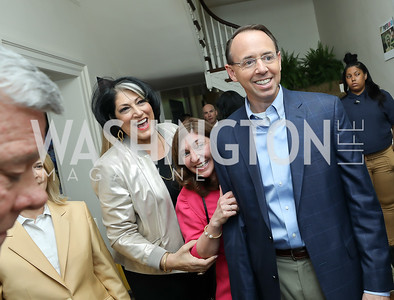 Tammy Haddad, Lisa Barsoomian, Rod Rosenstein. Photo by Tony Powell. 2019 WHCD Garden Brunch. April 27, 2019