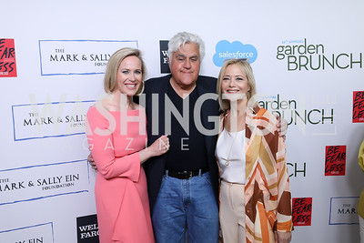Megan Murphy, Jay Leno, Hilary Rosen. Photo by Tony Powell. 2019 WHCD Garden Brunch. April 27, 2019