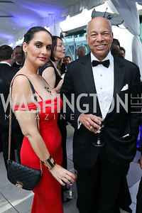 Bassima Al Ghussein, Sec. Jeh Johnson. Photo by Tony Powell. 2019 WHCD Pre-parties. Washington Hilton. April 27, 2019