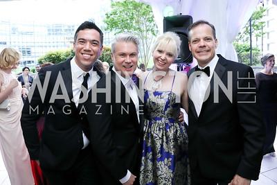 Neil Grace, Stewart Scott, Nikki Schwab, Variety Sen. Editor Ted Johnson. Photo by Tony Powell. 2019 WHCD Pre-parties. Washington Hilton. April 27, 2019