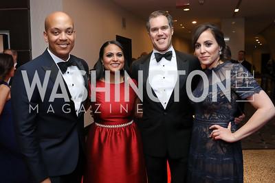 Geoff Bennett, Kristen Welker, Peter Alexander, Hallie Jackson. Photo by Tony Powell. 2019 WHCD Pre-parties. Washington Hilton. April 27, 2019