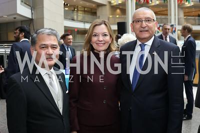 "Malaysia Amb. Azmil Zabidi, Marie Royce, Egypt Amb. Yasser Reda. Photo by Tony Powell. 2019 ""Winternational."" Reagan Building. December 5, 2019"