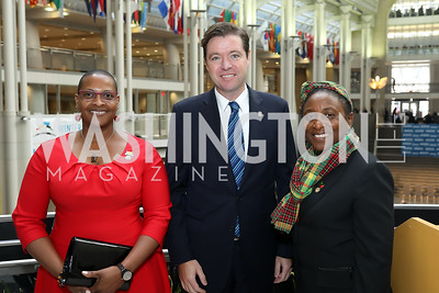 "Grenada Amb. Yolande Smith, John Drew, St. Kitts and Nevis Amb. Thelma Phillip-Browne. Photo by Tony Powell. 2019 ""Winternational."" Reagan Building. December 5, 2019"