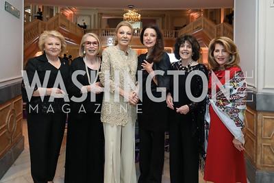 Mary Mochary, Gilan Corn, Empress Farah Pahlavi, Anika Gaal Schott, Didi Cutler, Jennifer Myerberg. Photo by Tony Powell. 2019 Young Concert Artists Gala. NMWA. April 23, 2019