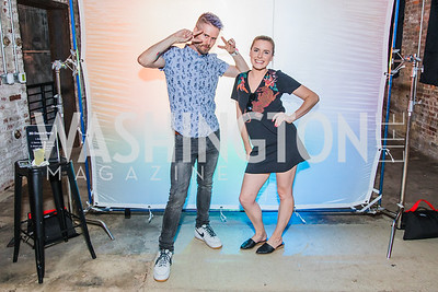 Cale Charney, Kelly Ahrens. Photo by Alfredo Flores. Advoc8 Party. AutoShop at Union Market. October 2, 2019.