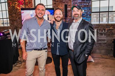 Zac Moffatt, John Legittino, Will Ritter.  Photo by Alfredo Flores. Advoc8 Party. AutoShop at Union Market. October 2, 2019.