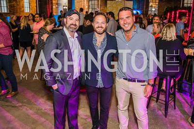 Will Ritter,, John Legittino, Zac Moffatt. Photo by Alfredo Flores. Advoc8 Party. AutoShop at Union Market. October 2, 2019.