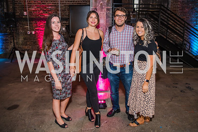 Jennifer Krantz, Madeleine Weast, Will May, Sam Azzarelli. Photo by Alfredo Flores. Advoc8 Party. AutoShop at Union Market. October 2, 2019.