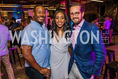 Marcus Richardson, Abby Phillip, Ryan Williams.   Photo by Alfredo Flores. Advoc8 Party. AutoShop at Union Market. October 2, 2019.